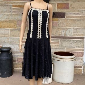 G & An'ge Black Lace and Sequined Drop Waist Dress